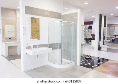 Thailand - January 01,2007 : The interior of showroom bathroom display. Modern interior display