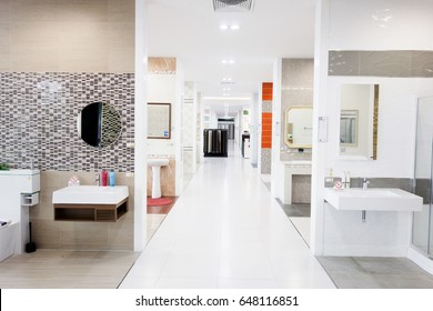 Thailand - January 01,2007 : The interior of showroom of the Ceramic Materials Retail Store. Showroom Products of home Construction and interior design.