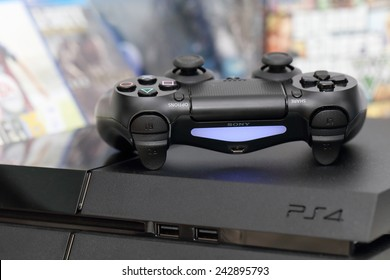 THAILAND -JANUARY 10: the new sony dualshock 4  with PlayStation 4 taken in Bangkok Thailand on January 10,2015.