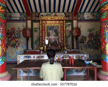 Thailand - January 15, 2017 : Thai woman is praying for a better life, in her birthday.