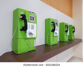 Bangkok, Thailand - January 16, 2018 : These are some ole-fashioned public telephones, although most of thai people always use mobile phone but we can see this type of telephone in public area.