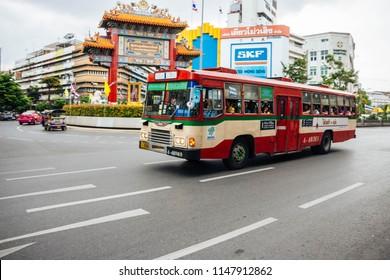 ฺBangkok, Thailand : JUL 28, 2018 : Public buses in Chinatown Yaowarat Bangkok, Thailand