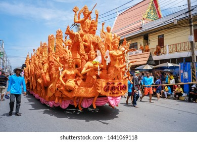 Thailand - July 17 2018 Buddhist Lent Candles Procession Tradition in Nakhon Ratchasima, Thailand