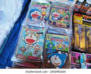 Thailand - July 21, 2019 : Doraemon cartoon Book, Cartoon Book, Jatujak Market Bangkok, Vintage Market, Second Hand vintage Market, Japan Cartoon Character.