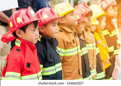 Thailand - july  7: Kid firefighters (Fire Safety For Kids in school) on JULY 7, 2016 in Chonburi school, Thailand