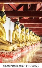Thailand - JUNE 13 : gold buddha sitting at wat phra mahathat, nakhon si thammarat on June 13, 2012 in Thailand.