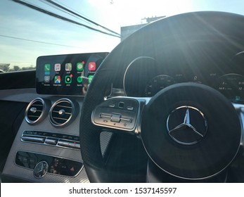 Thailand - June 15 2019: Mercedes-Benz C-Class Steering Wheel (W205)