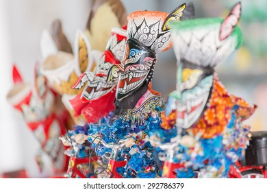 Thailand June 26: Souvenir of Phi ta khon ride bicycle in Phitakhon masks and dance to show festival on june 26 ,2015 in loei province of thailand