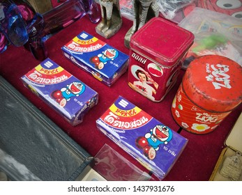 Thailand - June 30, 2019 : Doraemon,  Packaging Vintage Yummy, Vintage Advertising, Jatujak Market of Bangkok, Vintage market jatujak, Bangkok Thailand, Vintage Market, Second Hand.