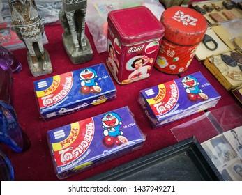 Thailand - June 30, 2019 : Doraemon,  Packaging Vintage Yummy, Jatujak Market of Bangkok, Vintage market jatujak, Bangkok Thailand, Vintage Market, Second Hand.