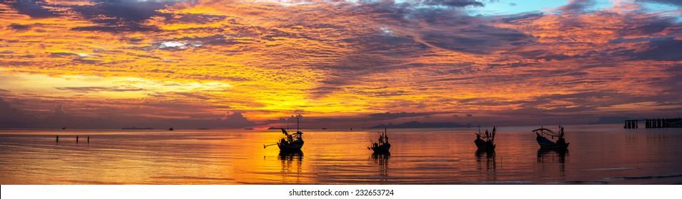Thailand, Ko samui, Panorama twilight sky seascape. Extra large size.