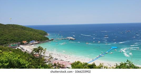 THAILAND , KOH LARN PATTAYA April 11, 2018 Summer time in thailand on maximum view point in koh larn pattaya