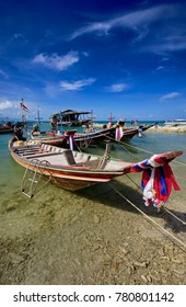 Thailand, Koh Phangan (Phangan Island), local wooden fishing boats in the shore