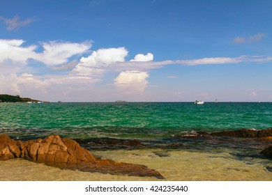 Thailand Koh Samet Rocky Beach Boats and Clouds