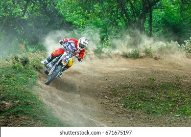 Thailand, Lampang-Motocross, motorcycle, motocross Dusty,action at Motocross competition,on track at the motocross.July 2, 2017,blur.
