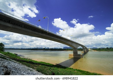 Thailand and Laos Friendship Bridge number 2  cross  Mekong river  with blue sky and white clouds,Nakorn Phanom, Thailand