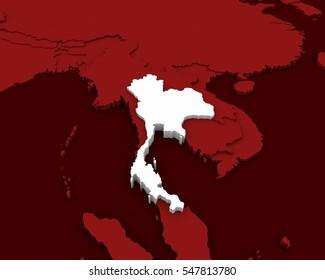 thailand map 3D rendering