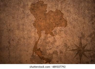 thailand map on a old vintage crack paper background