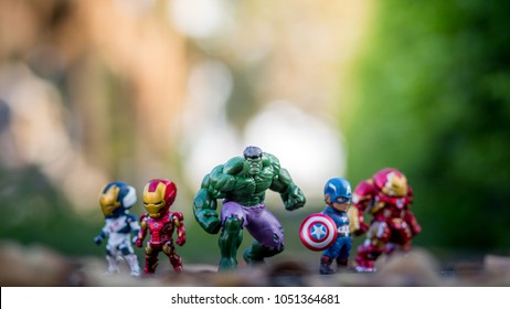 THAILAND, Mar 2018 :the adventure team standing on the floor blurred background on sunshine day : Marvel toy collection in marketing campaign from Tesco Lotus Express.