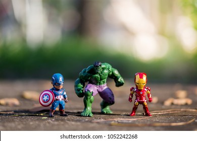 THAILAND, Mar 2018 :the avenger team on the floor blurred background on sunshine day : Marvel toy collection in marketing campaign from Tesco Lotus Express.
