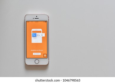 Thailand - March 15, 2018 : Smartphone on white background show display of Google Analytics Application on Mobile.