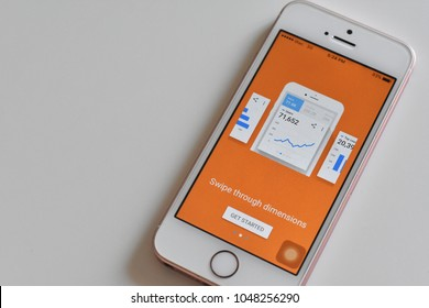 Thailand - March 17, 2018 : Display of Google Analytics Application on Smartphone on white background.