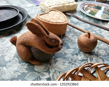 Thailand -March 24, 2019 :  Jatujak Market of Bangkok, The Camp vintage market at jatujak, Bangkok Thailand, Vintage Market, Wooden rabbit  Handmade.