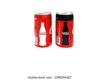THAILAND MAY 15, 2019: Coca Cola, Coke can original taste and no suger design on isolated.