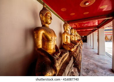 Thailand - May 2, 2016 : Buddha at Wat Pho in Bangkok . A tourist attraction Famous in Asia .