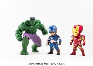 THAILAND, MAY 2018 :the adventure team on white background : Marvel toy collection in marketing campaign from Tesco Lotus Express.