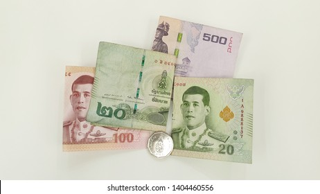 Thailand money. Thailand banknote and coin, 500 Baht, 100 Baht, two 20 Baht banknote. New 5 Baht coin.