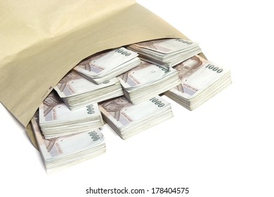 Thailand money bills stacked isolated, baht currency in bag ,Stacks of one hundred dollars banknotes close-up isolated on white, rich and wealth background, business investment. money