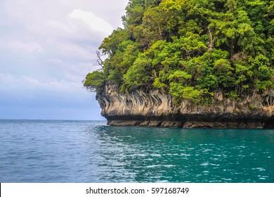 Thailand / Monkey Beach Lagoon / rock with trees