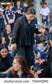Thailand, Nakhon Ratchasima, Thao Suranaree Monument - On October 27, 2016 at 18:30 PM: The ceremony to commemorate King Bhumibol Adulyadej
