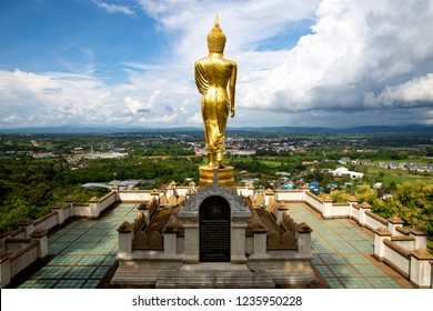 "Thailand, Nan, August 28 Tuesday 2018 Big Buddha statue on the mountain ""Wat Phra That Kao Noi"" is a name of famous temple in Nan province"