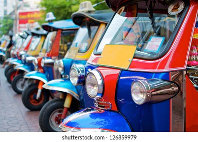 "thailand native taxi call ""tuk-tuk"" park in row"