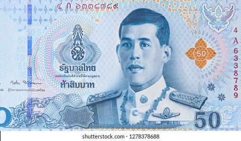 Thailand new 50 baht (2018) banknote, King Rama X. Thai money currency close up. Thailand economy.