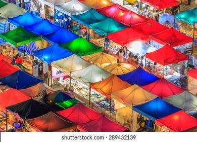 Thailand night market, street night market Colourful and beauty of night market, Aerial view of Talad Rod Fai Night Market, Ratchada, Bangkok, Thailand
