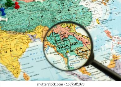 Thailand, nonthaburi, november 14, 2019. - magnifier selective at Thailand map. - economic and travel concept.