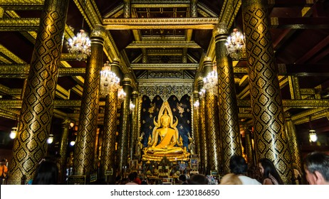 Thailand October 15, 2018 Buddha statue in Wat Phra Sri Rattana Mahathat Temple, Name is Phra Buddha Chinnarat, Phitsanulok in Thailand.