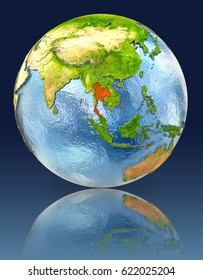 Thailand on globe with reflection. Illustration with detailed planet surface. Elements of this image furnished by NASA.