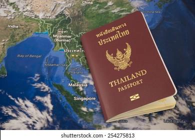 Thailand passport book with map