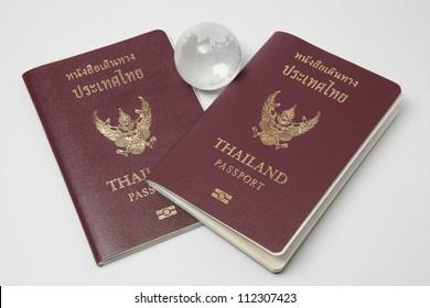 Thailand passport isolated on white background