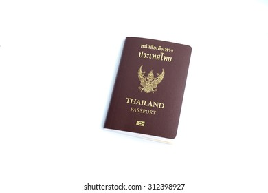 Thailand passport isolated on white background