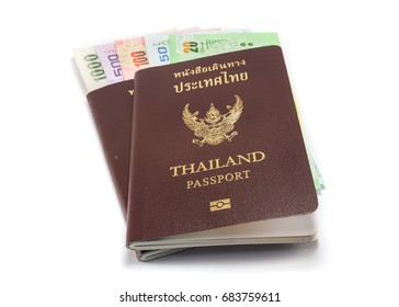 Thailand passport with money budget,isolated white background