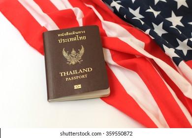 Thailand Passport on an American flag