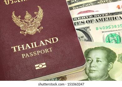 thailand passport on the background money