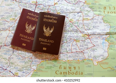 Thailand passport on the map for World travel and travel in Laos and Combodia