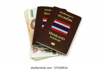 Thailand passport and Thai money isolated on white background for Travel or AEC concept