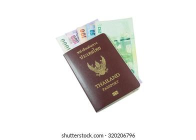 Thailand passport with Thai money isolated on white background
